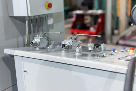 Hydraulic station oil supply valves. Imagens