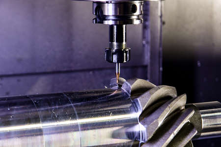 The shaft is a bevel gear with a round tooth in the centers on a cnc turning-milling center.