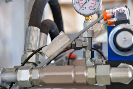 Oil control station for high pressure control of hydraulic pumps. Banco de Imagens
