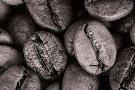 Coffee beans in black and white image