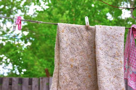 Drying the fabric outdoors Zdjęcie Seryjne