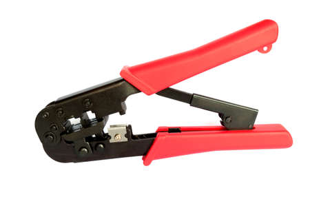crimping: Crimping tool for cord. Тongs Stock Photo