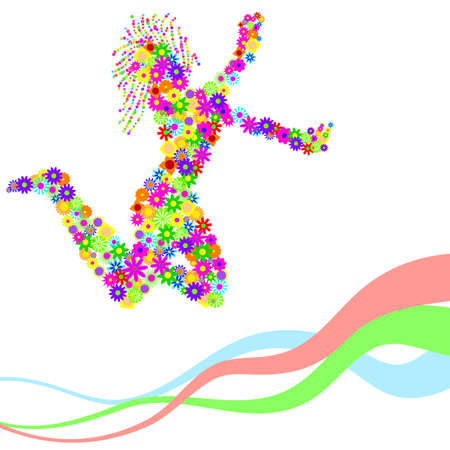 silhouette of dancing girl with flowers Vector