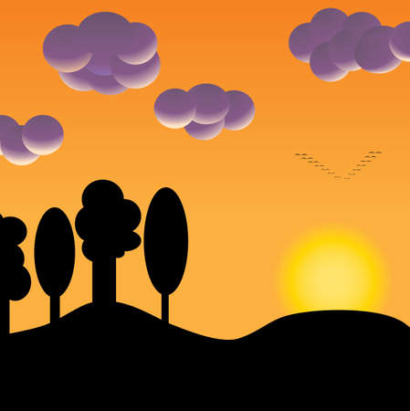 silhouette of a flock of birds flying away in the orange sunset Vector