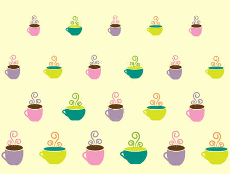 teacups: Coffee cups and teacups pattern background Illustration