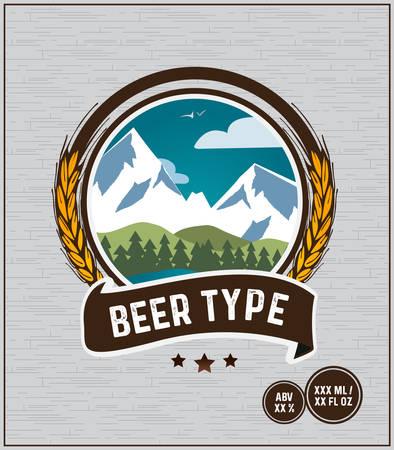 Beer Label Barley Mountainside Badge Ribbon Brown Circles
