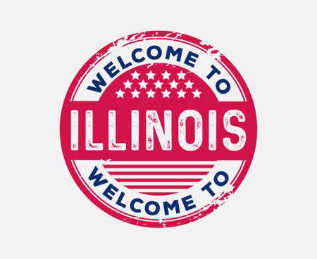 Welcome To Illinois State United States Stars Stripes Badge Ilustração