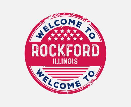 Welcome to Rockford Illinois United States Badge Ilustração