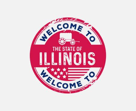 Welkom bij Illinois Badge Railsplitter Grootste overdekte wagon in de wereld Stock Illustratie