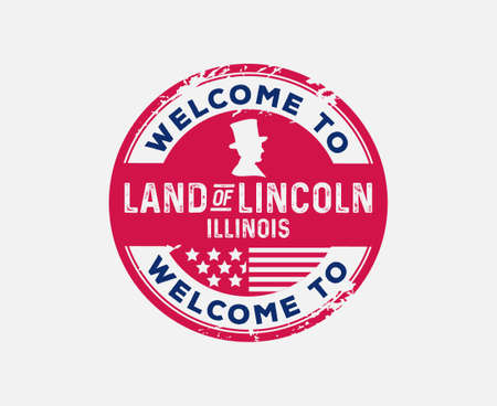 Welcome to Illinois Land of Lincoln Badge President Silhouette