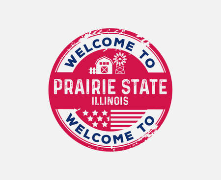 Welcome to Illinois Prairie State Badge Barn Mill Ilustrace
