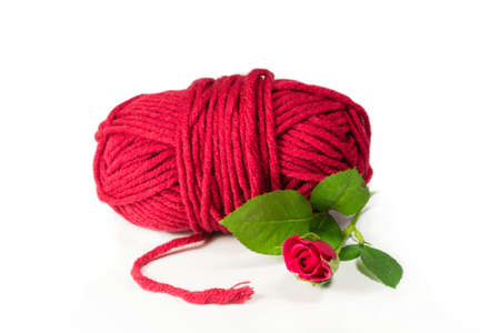 hank: Wool hank in red with moss florets Stock Photo