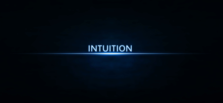 Intuition text on blue light. Stock fotó - 98690492