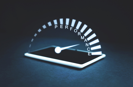 Performance speedometer on a tablet screen. Business concept