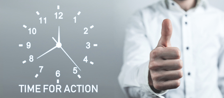 Time For Action word with clock. Business concept