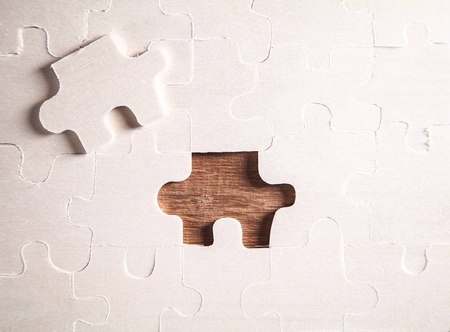 Piece of the jigsaw puzzle. Concept of business challenge completion Standard-Bild - 117308415