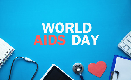 World AIDS Day in blue background. Stock Photo