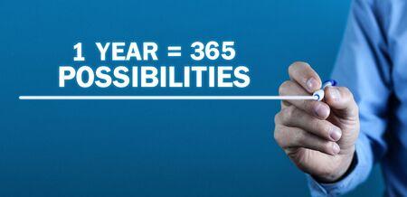 1 Jahr 365 Möglichkeiten. Positives Denken. Geschäftskonzept