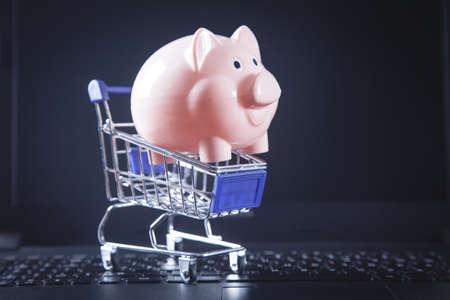 Piggy bank on laptop keyboard. Savings concept