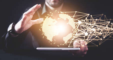 Global network connection. Concept of global business and internet