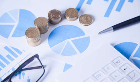 Coins and graphs. Financial concept