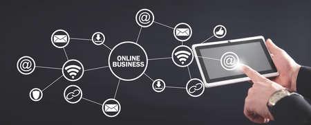Man using white digital tablet. Online business Zdjęcie Seryjne