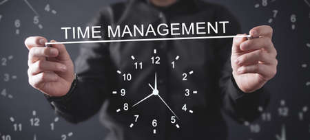 Man writing in screen. Time Management. Business concept