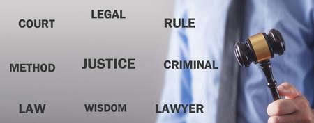 Man holding Judge gavel. Justice 스톡 콘텐츠
