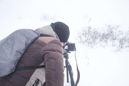 Photographer in winter. Winter. Snowy day Zdjęcie Seryjne
