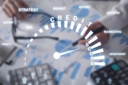 Credit Score. Speedometer. Business, Technology
