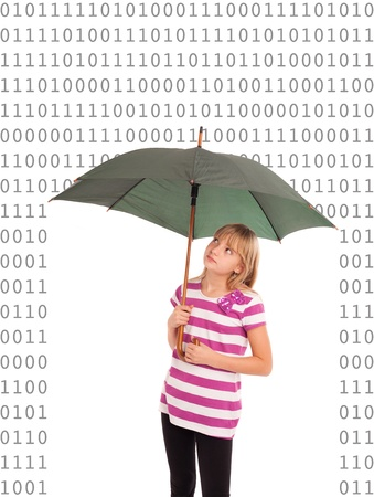 Internet protection concept - Teen girl using an umbrella as a digital shield against the 0 and 1 digit numbers  Isolated on white  photo