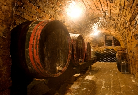 Wine barrels vand bottles in the back in a cellar . Warm colors, wide angle view.