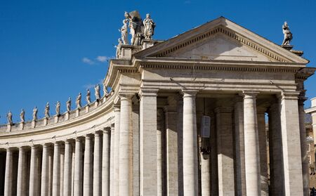 Famous colonnade of St. Peters Basilica in Vatican, Rome, Italy.
