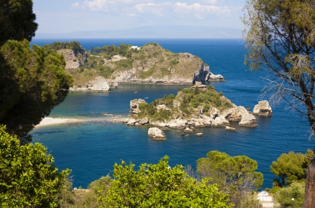 The famous Isola Bella island at Taormina, Italy