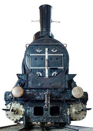 locomotora: Vista frontal de una m�quina de vapor (modelo realista) en blanco. Foto de archivo