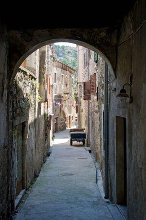 Narrow alley in Skradin, Croatia. Stock Photo