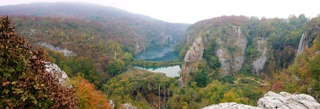 Panoramic view of the Plitvice lakes in Croatia. Stock Photo