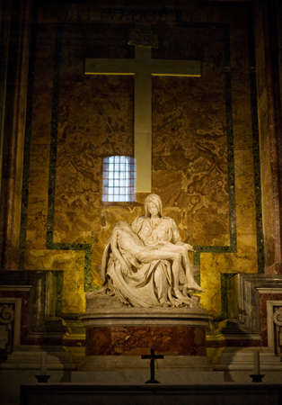 Michelangelos Pieta in St. Peters Basilica in Rome.  Stock Photo