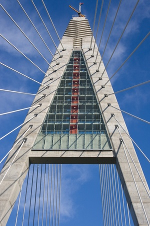 megyeri: A pylon detail of Bridge Megyeri ( or Colbert :) with  wire-ropes from Hungary. Stock Photo