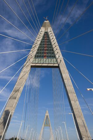 megyeri: Two pylons and lampposts on Bridge Megyeri ( or Colbert :) with  wire-ropes from Hungary.