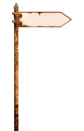Vintage rusty signpost on white with clipping path. The board is empty for text.  Stock Photo
