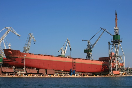 shiprepair: Ship during construction works in Pula, Croatia. Stock Photo