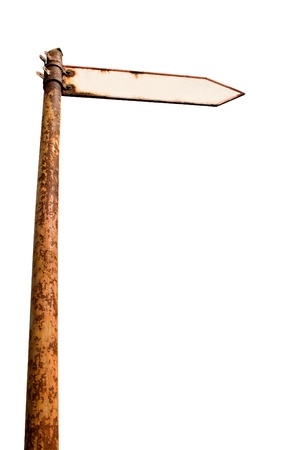 underarm: Vintage rusty signpost on white with clipping path from underarm. The board is empty for text.