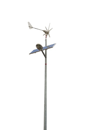 Street lamp powered by a solar panel and a small wind turbine. Isolated on white, clipping path included.