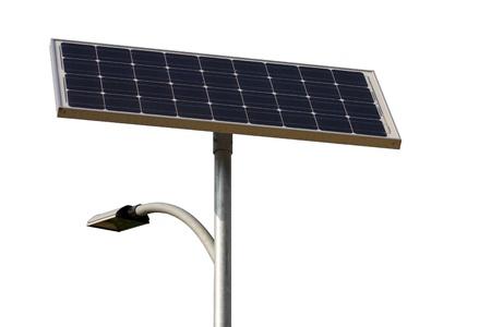 solar energy street lamp isolated on white.  Stok Fotoğraf