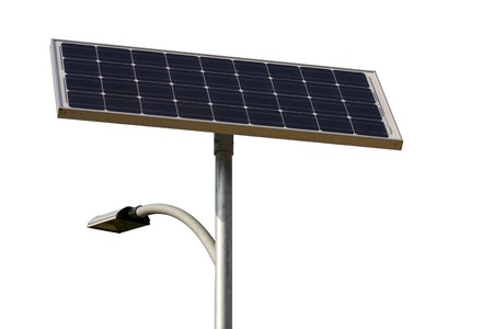 solar energy street lamp isolated on white.  Stock Photo