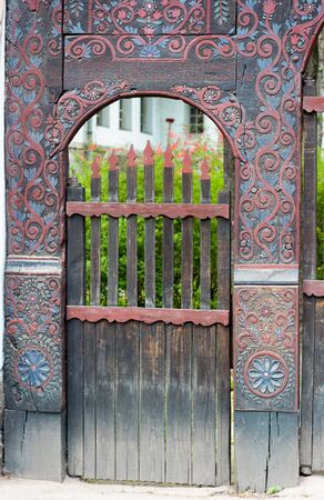 A detail of an Ornate and patterned wood szekler gate from Transylvania, Romania. Stock Photo - 17618716