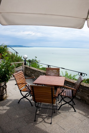 Coffee terrace with a panoramic view of the lake Balaton at Tihany, Hungary.