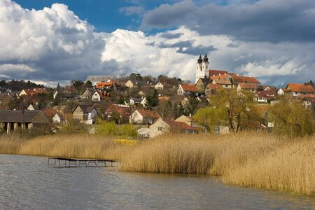 Tihany abbey with the inner lake and the village in Hungary