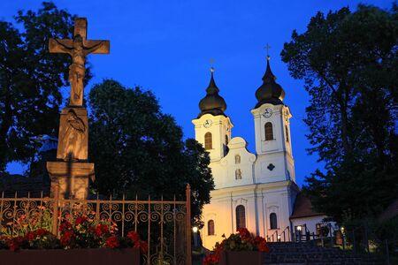 Tihany Abbey at night in Hungary